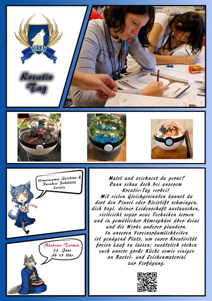 Jeder der gerne Mangas liest oder Animes anschaut ist zu unserem Kreativ Tag herzlich eingeladen. Ihr könnte bei uns in ruhe zeichnen, Paradise Pokebälle basteln, Mangas lesen oder einfach nur in ruhe mit ein paar gleichgesinnten über eure Lieblings Animes fachsimpeln.  Wir freuen uns auf euch!